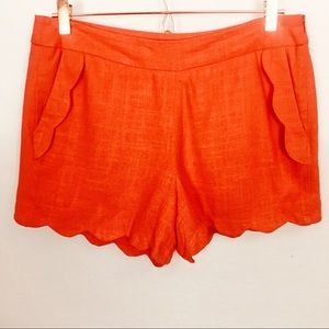 CYNTHIA ROWLEY | Linen Blend Scalloped  Shorts